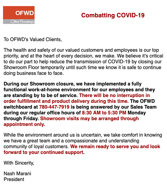 ofwd covid19 update revised